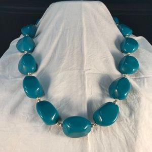 Jewelry - Big Chunky Retro Faux Turquoise Statement Necklace
